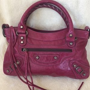 EUC Magenta Leather Satchel